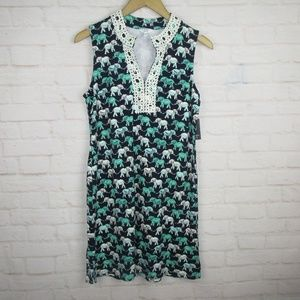 Crown and Ivy women's size S Navy and Green Dress